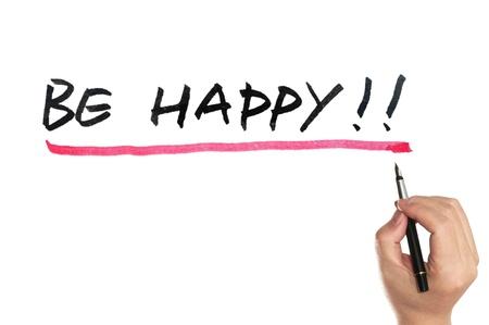 Seien Sie glücklich Worte auf der Tafel geschrieben Standard-Bild
