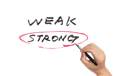 conceptional: Weak and strong conceptional words written on whiteboard Stock Photo