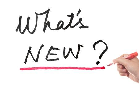 ホワイト ボードに書かれた新しい言葉は何ですか 写真素材