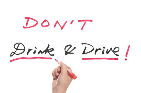 dont drink and drive: Dont drink and drive words written on white board