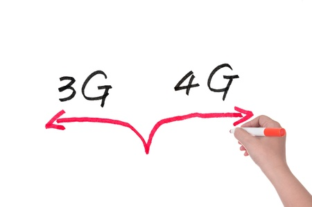 3g: Choosing between 3G and 4G concept drawing on white board