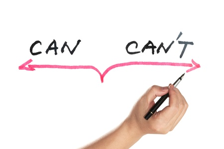 can't: Can or cant concept words written on white board Stock Photo