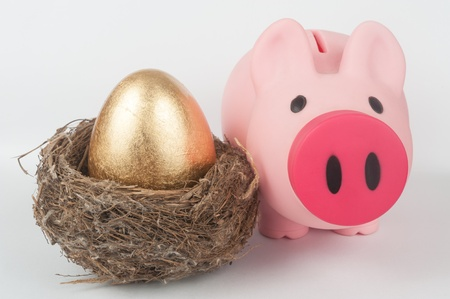 A golden egg in the bird nest with a piggy bank next to them photo