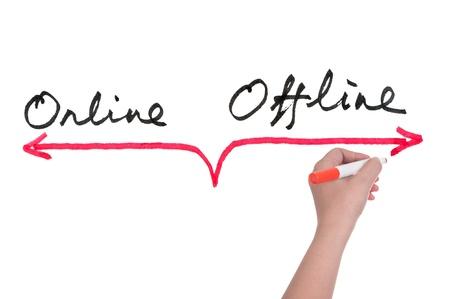 Online versus offline concept, hand writing on white board Archivio Fotografico