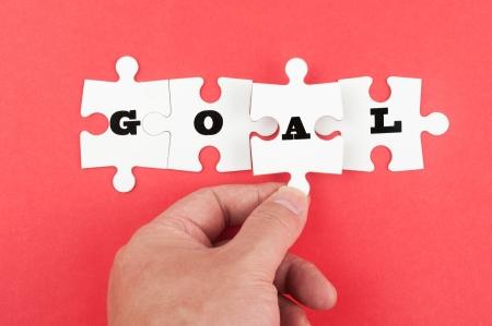 Goal word on group of jigsaw piece photo