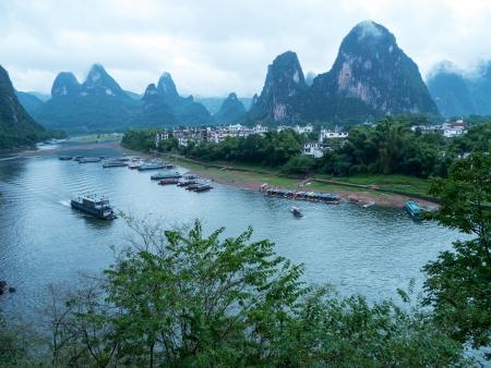 guilin: The Lijiang River landscape in Xingping, Yangshuo, Guilin,Guangxi, China