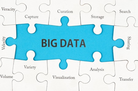 Big data concept words on group of jigsaw puzzle pieces Archivio Fotografico