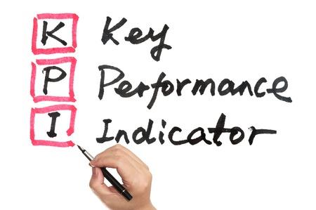 indicators: KPI - Key performance indicator words written on white board Stock Photo
