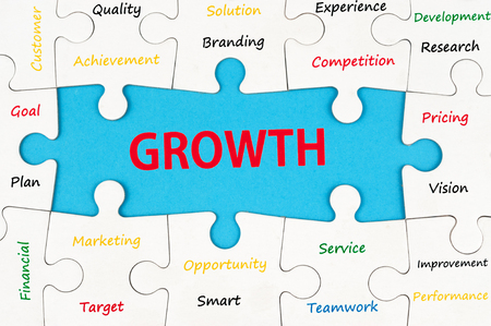 Growth concept words on group of jigsaw puzzle pieces photo