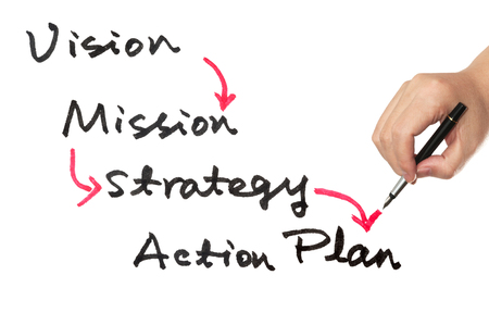 plan d action: Business concept de la vision, la mission, la strat�gie et le plan d'action organigramme