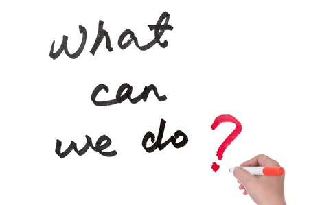 What can we do? words written on white board Standard-Bild