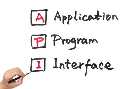 API - Application program interface words written on paper Banque d'images