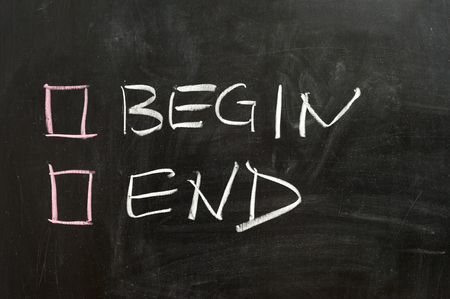 begin: Begin or end options on the chalkboard Stock Photo