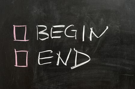 empezar: Comience u opciones en la pizarra terminar