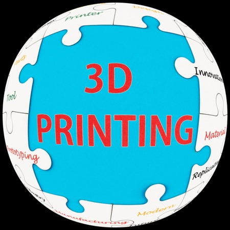Concept words of 3D printing word cloud on puzzle sphere photo