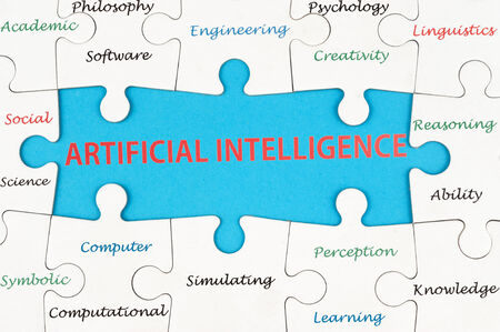 linguistics: Artificial intelligence concept word cloud on group of jigsaw puzzle pieces