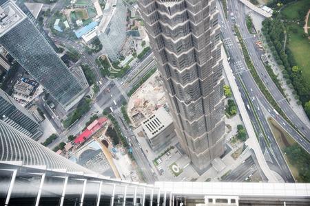 jin mao tower: Urban landscape bird view in Shanghai city of China