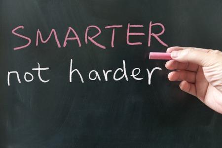 harder: Smarter, not harder words written on the blackboard using chalk