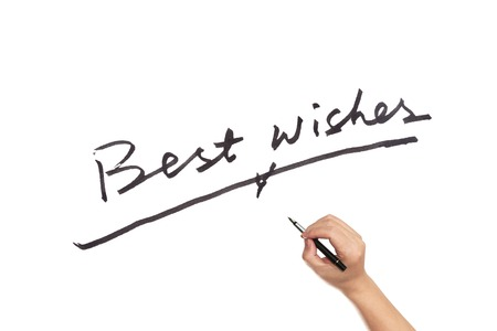 best wishes: Best wishes words written on white paper Stock Photo