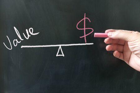 Value vs cost conceptional diagram on the blackboard using chalk