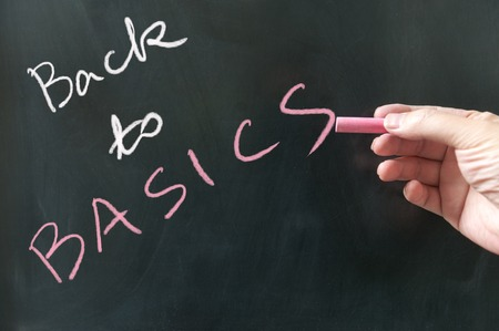 basics: Back to basics words written on blackboard using chalk