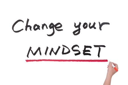 Change your mindset words written on white board