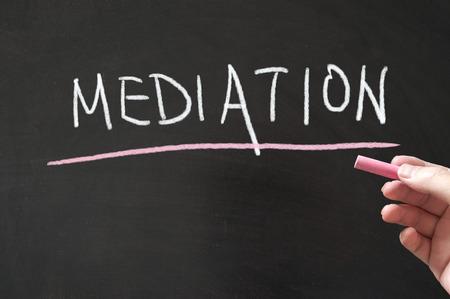 mediation: Mediation word written on the blackboard using chalk Stock Photo