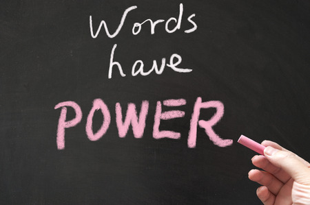 powers: Words have power words written on the blackboard using chalk Stock Photo