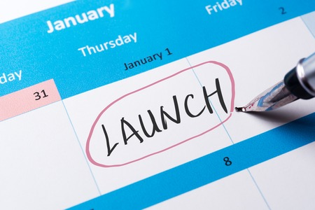 Launch word written on calendar using pen