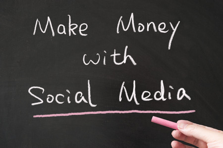 Make money with social media words written on the blackboard using chalk