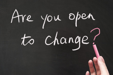 business change: Are you open to change words written on the blackboard using chalk Stock Photo