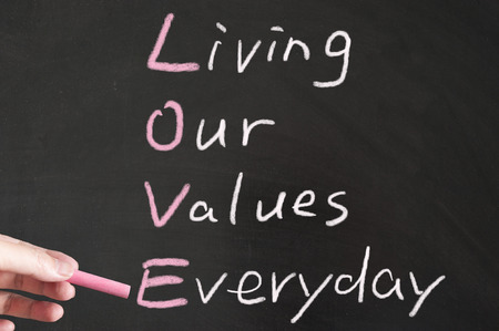 our: Living our values everyday words written on the blackboard using chalk