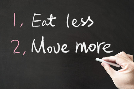 Eat less and move more words written on the blackboard using chalk Stock Photo
