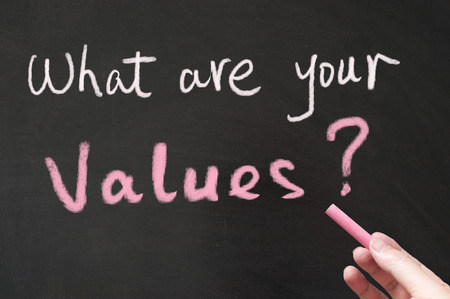 What are your values words written on the blackboard using chalk