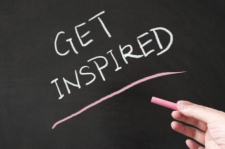 Get inspired words written on the blackboard using chalk
