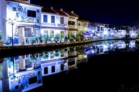 melacca: malaysia melacca river night view