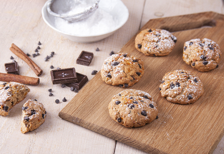 Cookies of wholemeal flour with chocolate Stock Photo