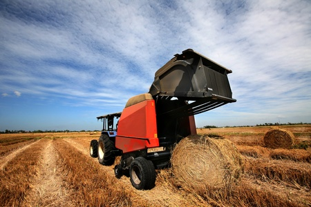 a huge tractor collecting haystack in the field in a nice blue sunny day Stock Photo - 13126555