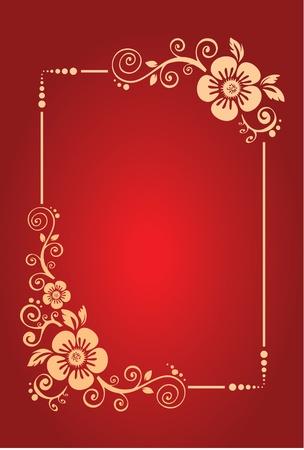 Fond Rouge avec d�cor floral