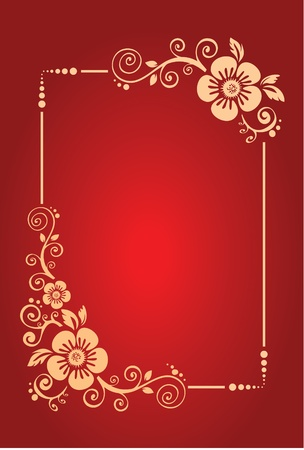 Red Background with floral decoration Vector