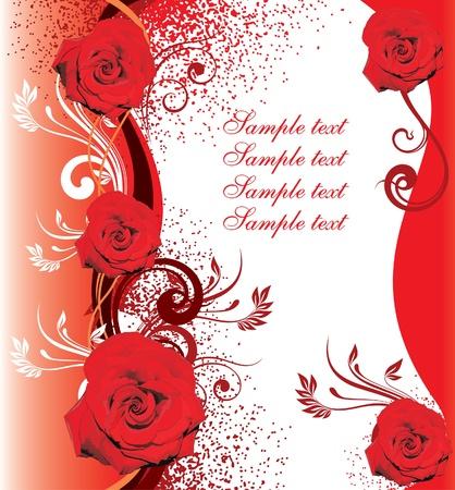Bouquet de roses rouges sur le cadre d'une cassette avec des n?uds