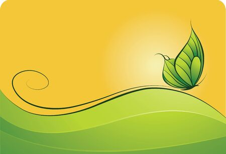 Beautiful green and yellow background with the butterfly