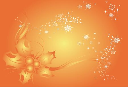 Christmas Background, Background with snowflakes and decoration for your design in orange colors