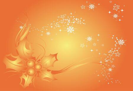 Contexte de No�l, des flocons de neige fond et de la d�coration pour votre design dans les tons orange