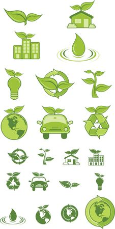 Green Icons and symbol.  Illustration