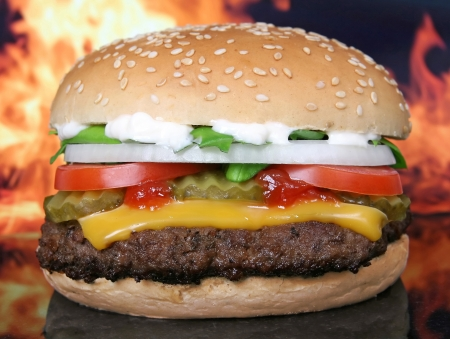 Silhouette of a cheese burger loaded with summer garden vegetables isolated on fire, macro Stock Photo - 17716809