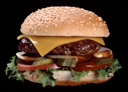 A tasty delicious Cheese beef burger