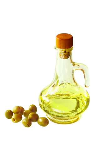 Branch with olives and a bottle of olive oil Stock Photo - 17716798