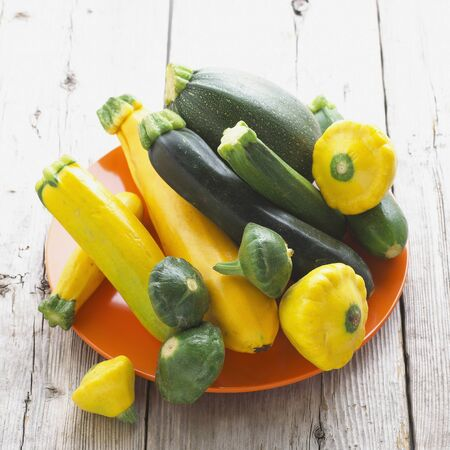 Green and Yellow Summer Squash Assortment Stock Photo