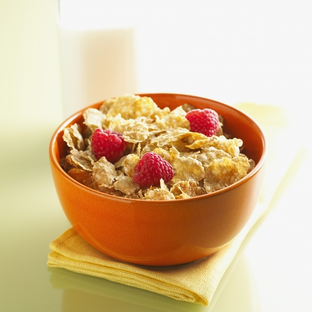 Cereal and Raspberries Stock Photo